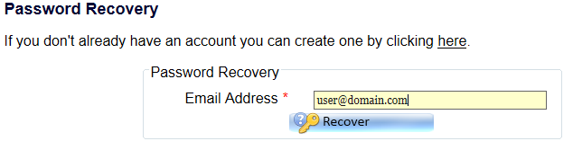 Recovery Password Enter
